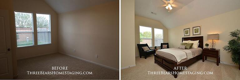 A home before and after staging