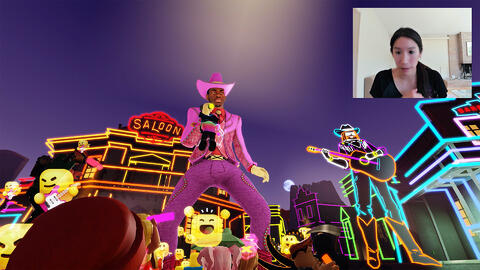 Carina Ngai, inset, with Lil Nas X in a pink suit on the Roblox virtual video game platform.