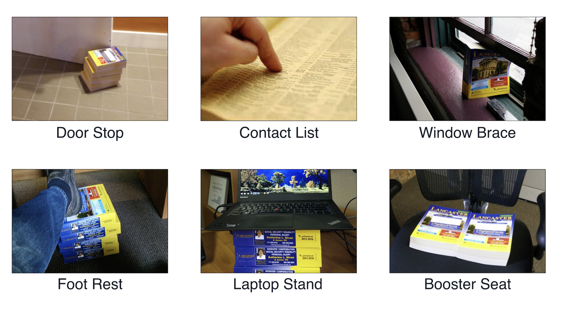 Six images displaying different uses for a phone book. Door stop, contact list, window brace, foot rest, laptop stand, and booster seat.