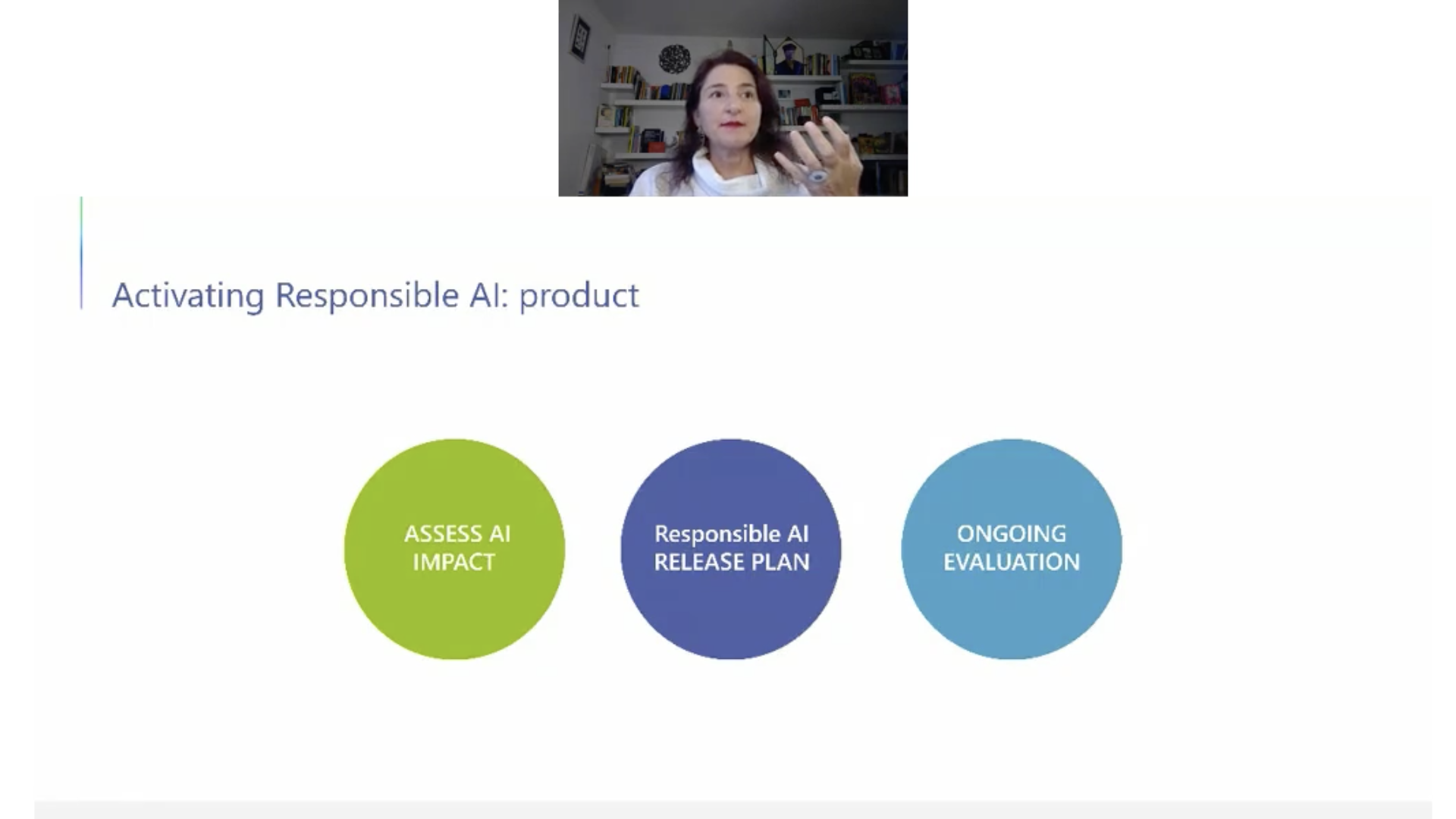 Ruth Kikin-Gil appears above a slide on a video meeting. Title on screen: Activating responsible AI: product. Three circles in green, navy, and aqua. Text in green: Assess AI impact. Text in navy: Responsible AI release plan. Text in aqua: Ongoing evaluation.