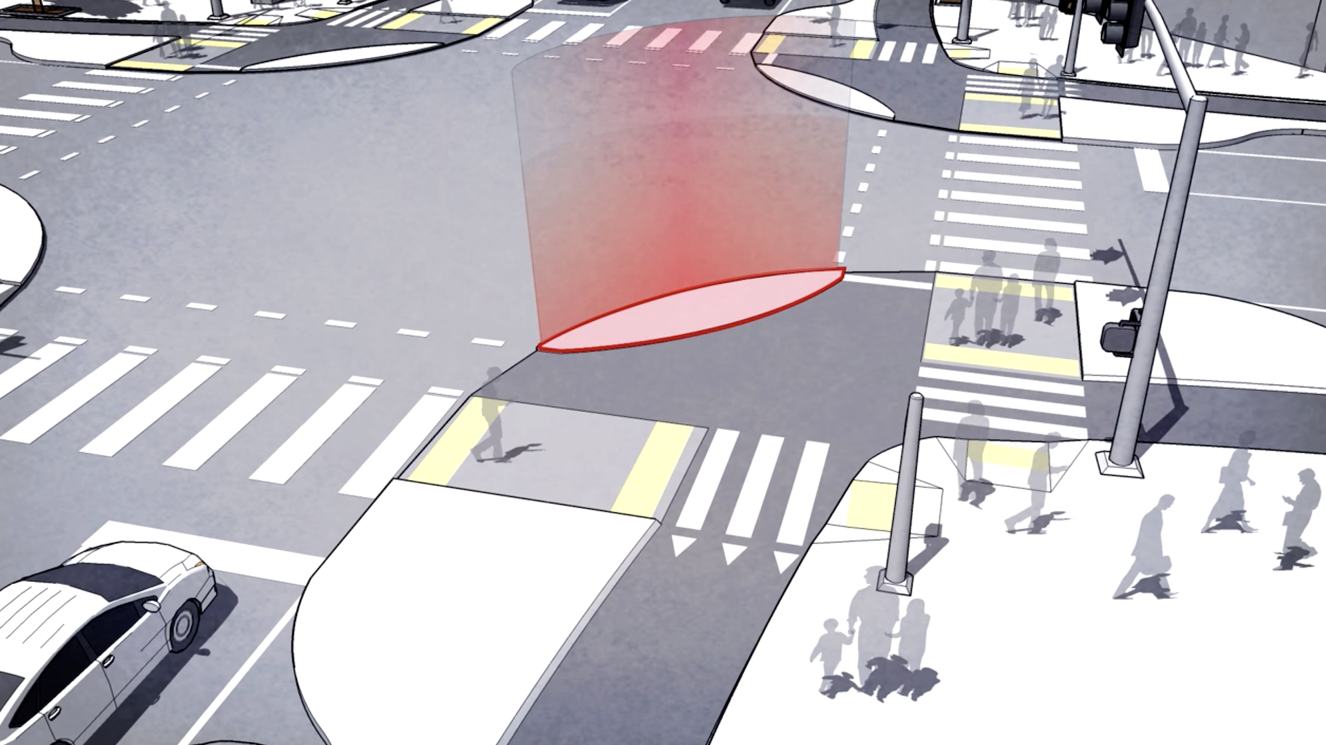 Rendering featuring concrete islands with wide corner radius to protect pedestrians