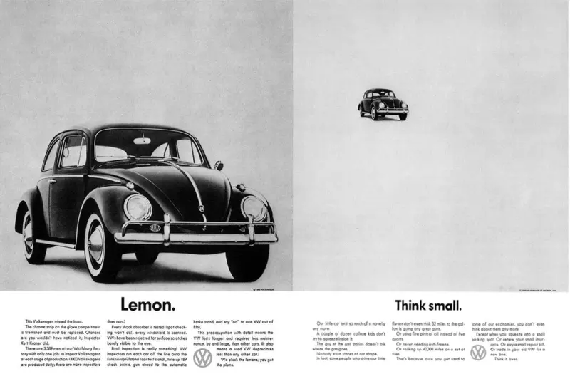 VW's groundbreaking ad positioning the Bug from lemon to 'think small'