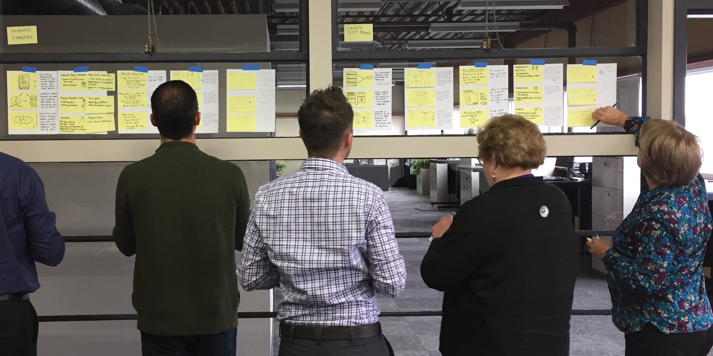A women & two men reviewing the output of a design sprint exercise.