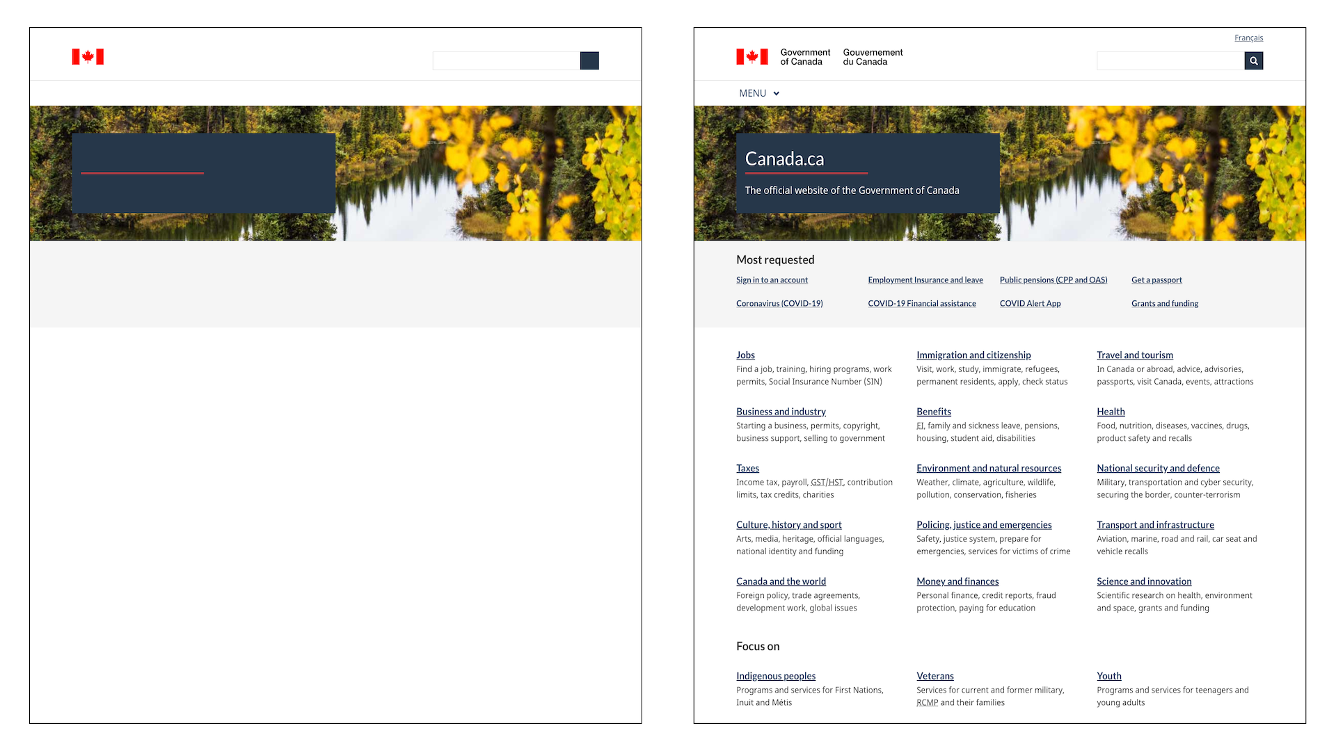 Side by side views of the Government of Canada website, one without text and one with text.