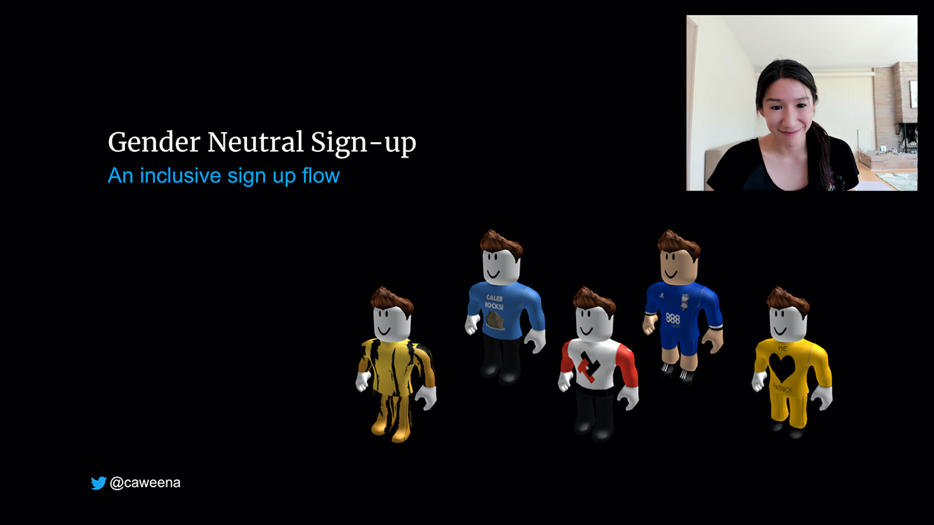 Carina Ngai appeared next to Roblox figures on a black background with