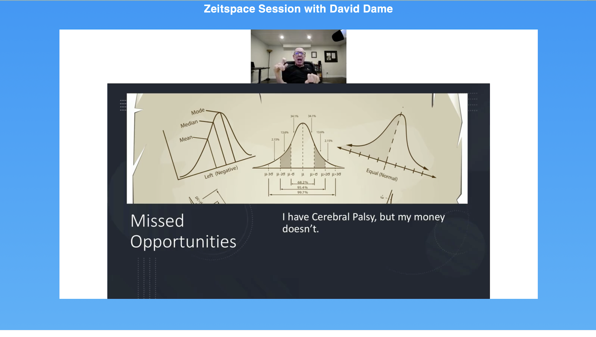 David Dame appears by video for a Zeitspace Session on product innovation. Below him is a slide that has three graphs with confidence intervals. Text: Missed opportunities. I have cerebral palsy but my money doesn't.