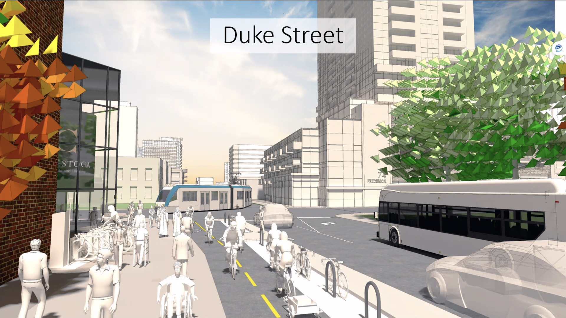 A drawing of what Duke Street in Kitchener could look like with separate cycle lanes, floating bike racks, public transit, pedestrians, and a car.