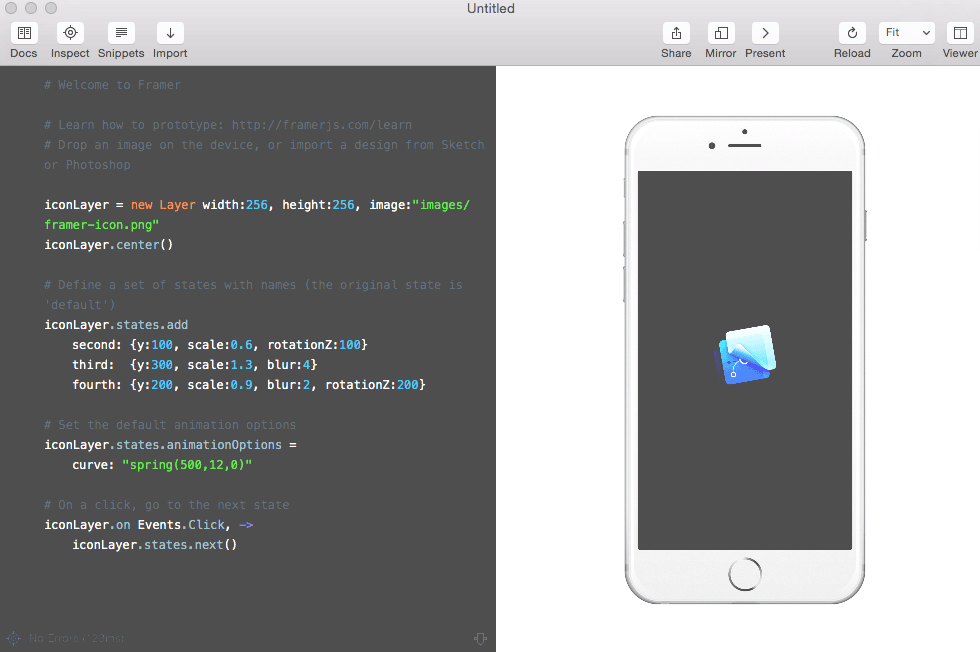 Framer user interface with code on the left and mock application on the right