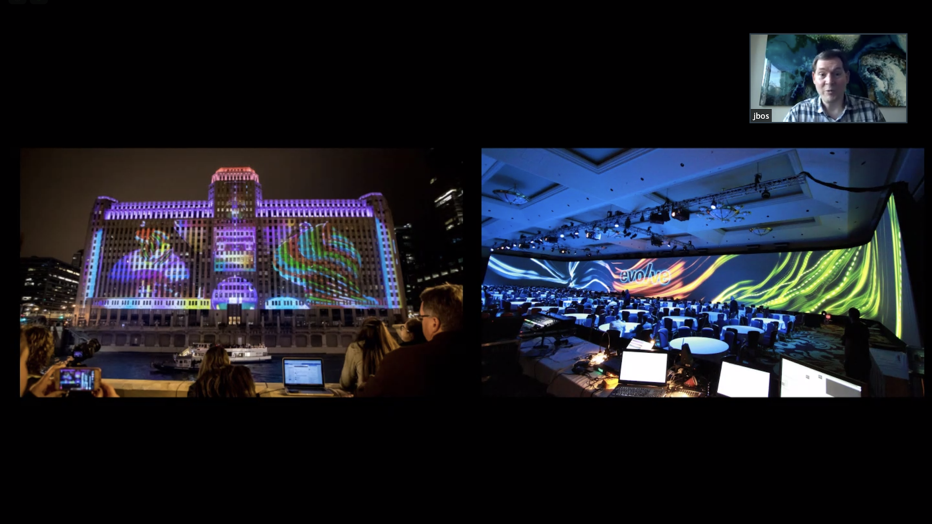 A colourful design broadcast from a projector onto the outside wall of a building (left) and a large screen in a convention hall (right).