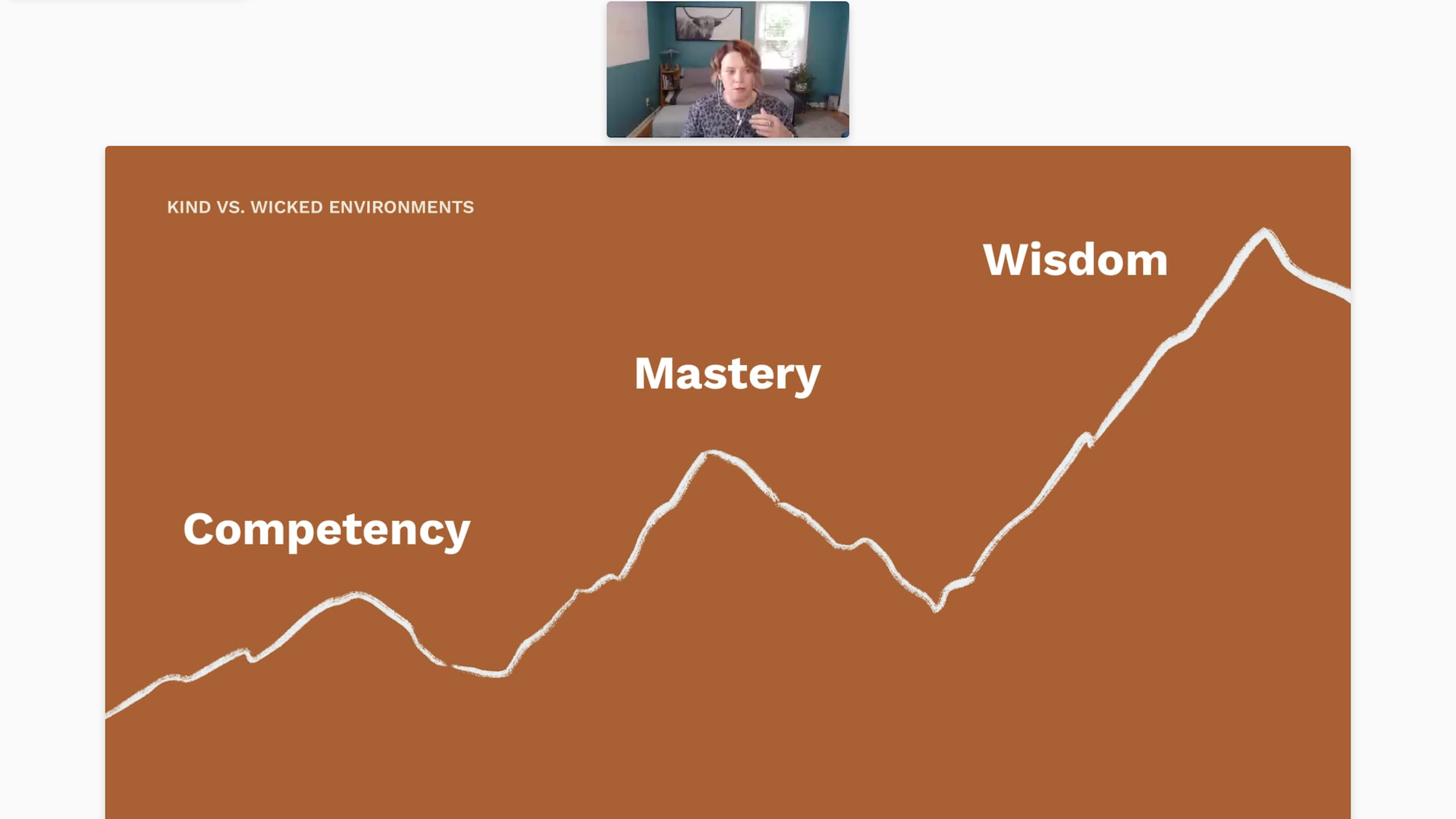 Karen VanHouten appears on video over a slide with the outline of a mountain. Text: Competency, Mastery, Wisdom.