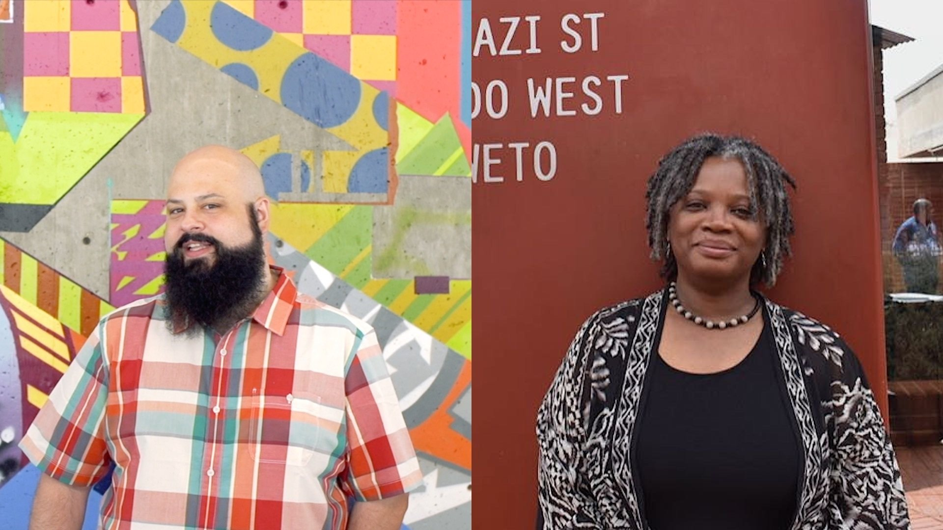 Andy Vitale, left, standing against a colourful background and Lisa Welchman, right, standing against a copper-coloured wall.