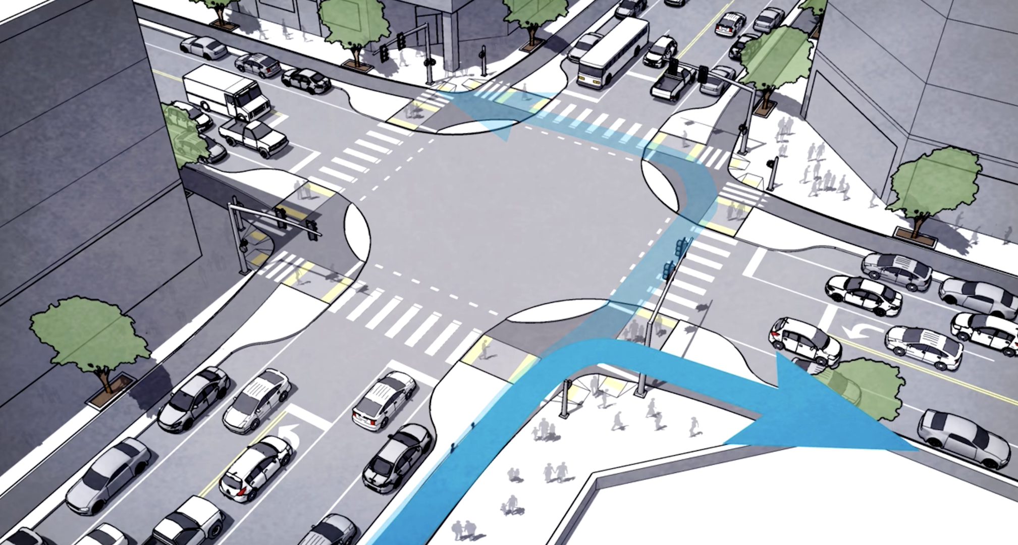 A proposed design for a safer, more equitable intersection for transit, pedestrians, cyclists, and cars.
