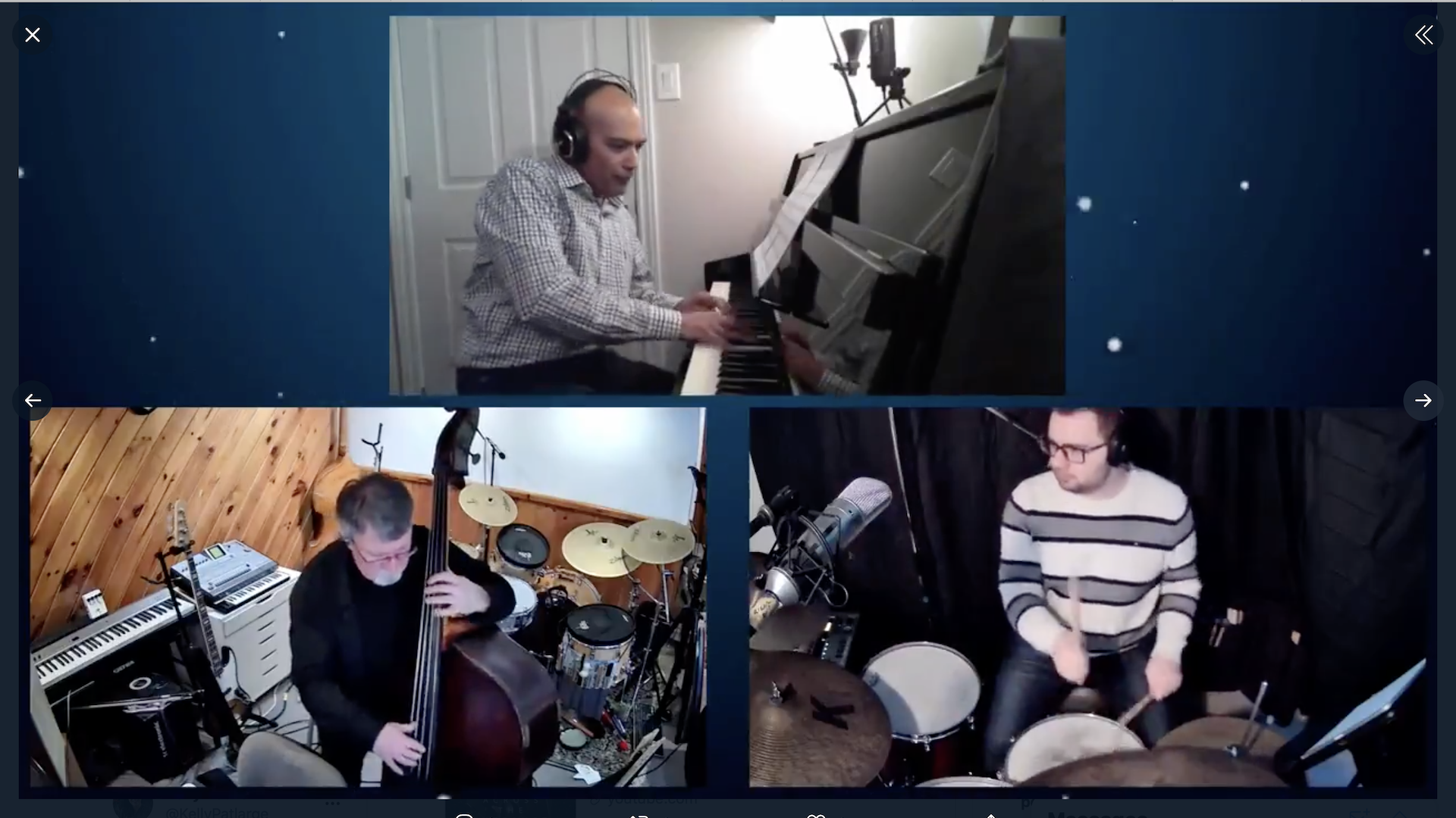 Three musicians performing together in three different rooms on the Syncspace.live platform.
