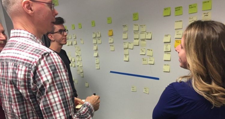 Three people stand around sticky notes on a whiteboard during a user story mapping session at Zeitspace.