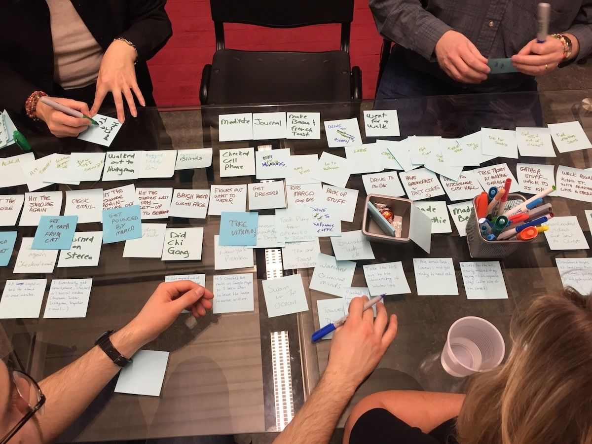 Four people lay index cards out on a table to map user stories