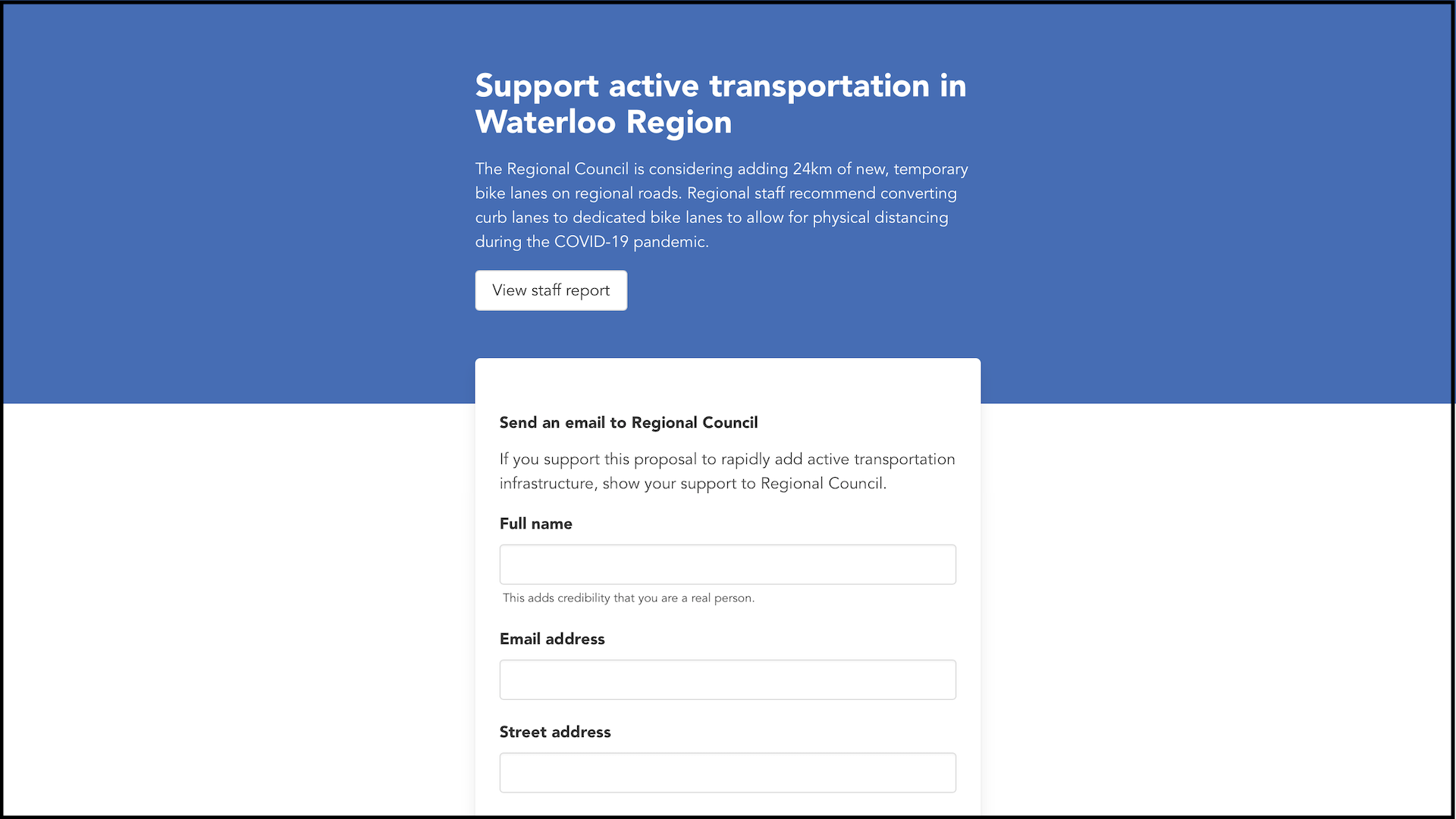 An app with a blue and white screen where Waterloo Region residents can show their support for active transportation.