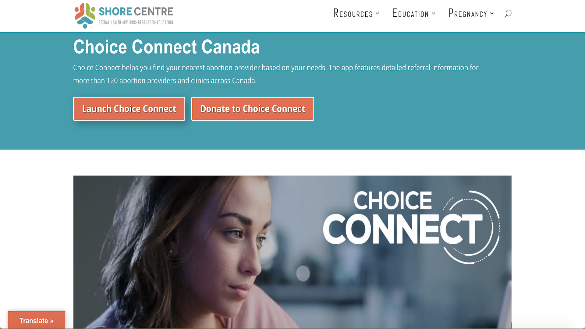 A woman sitting at a kitchen table looks off to the side. The words Choice Connect, referring to the abortion app Zeitspace helped design and develop appear on the screen beside her
