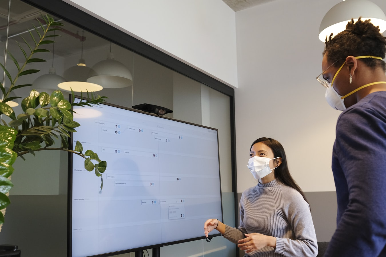 a man and a woman wearing masks plan product features on a virtual agile board